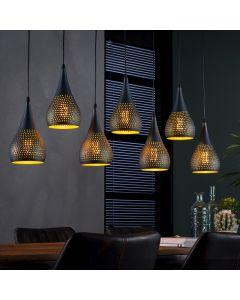 Hanglamp punch druppel 7 lichtpunten zwart bruin lamp aan