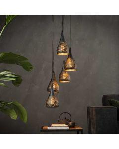 Hanglamp punch 5 lichts druppel vormige kappen zwart bruin getrapt