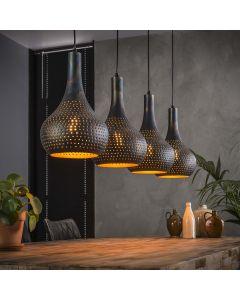 Hanglamp Punch 4 lichts kegel vormige kappen zwart bruin