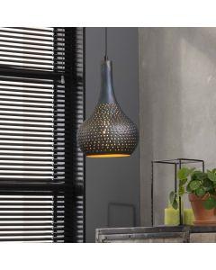 Hanglamp Punch industry concrete kegel zwart bruin 25 cm
