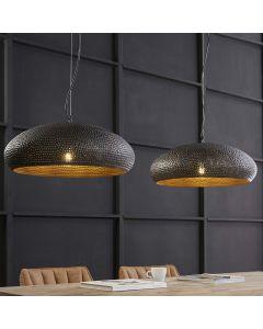 Hanglamp punch ovaal 53 cm 2 lichts met bolvormige kappen zwart bruin