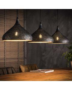 Hanglamp punch 3 lichtpunten met trechtervormige kappen zwart bruin
