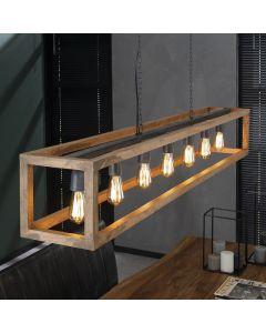 Hanglamp 7 lichts rechthoek houten frame mango aan