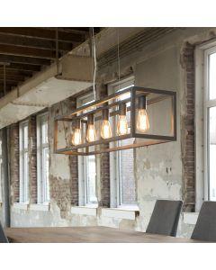 Hanglamp 5 lichts rechthoek vierkant koker zilveren finish aan