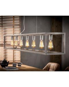 Hanglamp 7 lichts rechthoek vierkant buisframe zilveren finish aan