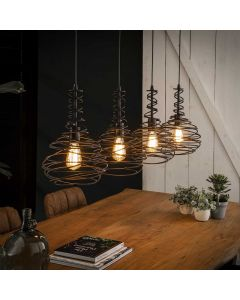 Industriële hanglamp kegel spinn 4L aan