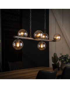 Hanglamp tower 6 lichts met glazen bollen rond 15 cm oud zilver