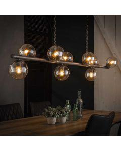 Hanglamp tower oud zilver 9 lichts met glazen bollen 15 cm rond