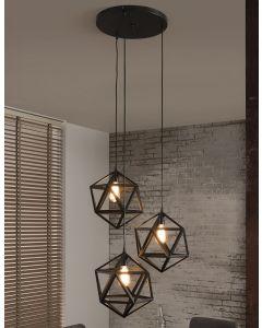 Hanglamp triangle 3 lichts getrapt zwart