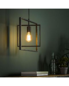 Hanglamp Turn Square 1L charcoal metaal