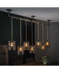 Hanglamp 7L twist wikkel XL met metalen kappen in slate grey afwerking