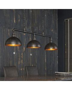 Hanglamp industrial tube van fitting buis met drie half ronde kappen zwart