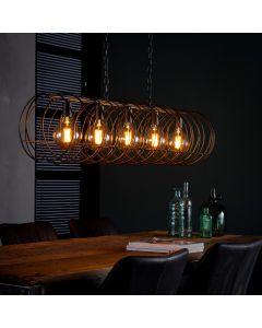 Hanglamp vijflichts spiraal 28 cm doorsnee cilinder zwart bruin metaal aan