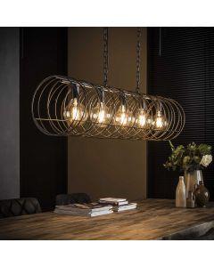 Hanglamp vijflichts spiraal 28 cm doorsnee cilinder zwart bruin metaal lamp aan