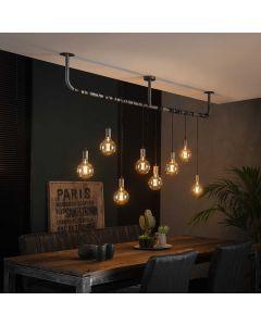 Hanglamp wikkel 8 lichts oud zilver metaal