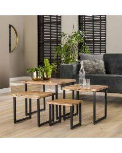 Industriële salontafelset van 4 Edge acaciahout & zwart metaal