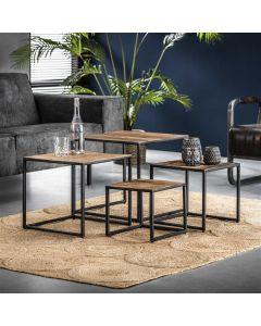 Industriële set van 4 salontafels Float hardhout
