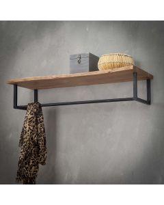 Kapstok hoedenplank acaciahout & zwart metaal