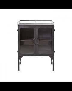 Kleine vitrinekast 62 cm  breed 2 glasdeuren Ventana By-boo zwart metaal