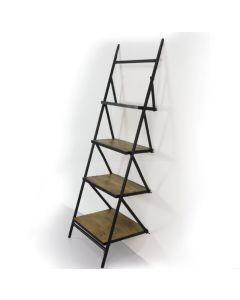 Ladderkast 65 cm mangohout met 4 legplanken en zwart metalen buisframe