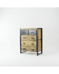 Ladenkast 90 cm breed mangohout en zwart metaal