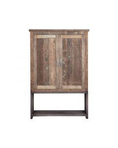 Opbergkast 2 deurs 122 cm breed gerecycled  teakhout en blank metalen frame