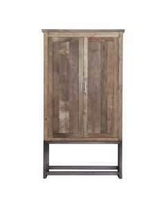 Opbergkast 2 deurs 122 cm gerecycled  teakhout en metalen frame