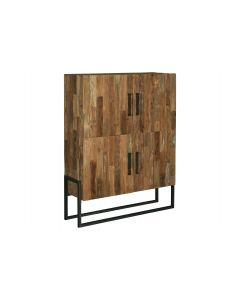 Opbergkast 131 cm  gerecycled teakhout en zwart metaal 4 deurs