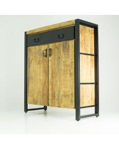 Opbergkast 2 deurs mangohout en zwart metaal 100 cm breed