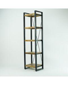 Open industriele boekenkast cm 55 breed mangohout en zwart metaal