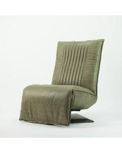 relaxfauteuil Donder in vintage leder olijfgroen zijaanzicht