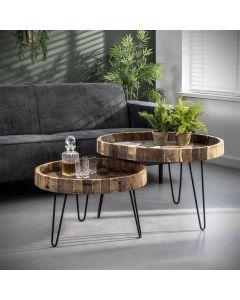 Ronde salontafelset Lodge gerecycled hout & metaal
