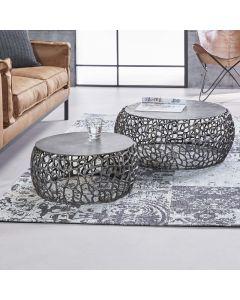 salontafel rond Maze set van 2 nikkel zand gegoten.