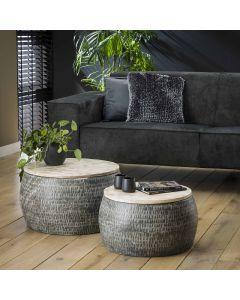 Salontafelset industrieel rond mangohout & grijs metaal