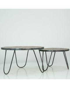 Set van 2 bijzettafels van ruig mangohout met metalen frame 60-80