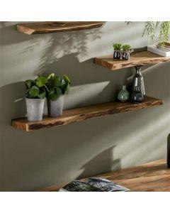 Set van drie wandplanken Edge 60 cm, 90 cm en 120 cm breed acaciahout