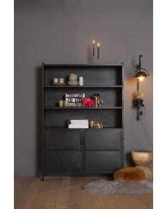 Boekenkast 125 cm Industrieel Eleonora zwart metaal met 2 deuren