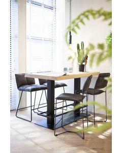 Eiken boomstam bartafel-countertafel 140x80 Eleonora met zwart metalen poot