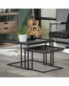 Set van twee salontafels vierkant grijs metallic