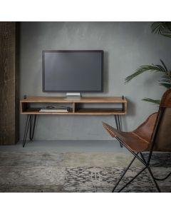 Sfeerfoto Tv-meubel Quadro acaciahout en zwart metaal 110 cm