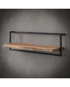 Sfeerfoto Wandplank Edge acaciahout & zwart metaal 100 cm