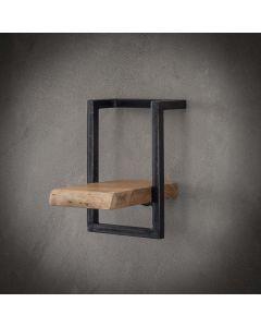 Sfeerfoto Wandplank Edge acaciahout & zwart metaal 20 cm