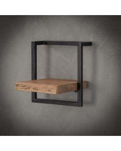 Wandplank Edge acaciahout & zwart metaal 30 cm