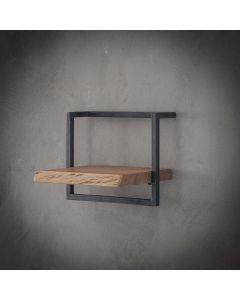 Sfeerfoto Wandplank Edge acaciahout & zwart metaal 40 cm