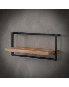 Sfeerfoto Wandplank Edge acaciahout & zwart metaal 65 cm