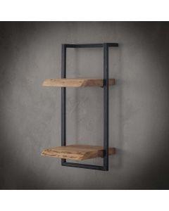 Sfeerfoto Wandplank Edge acaciahout & zwart metaal met twee planken 65 cm hoog