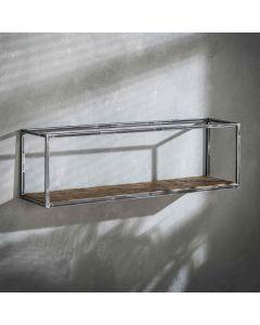 Sfeerfoto Wandplank Grained robuust hardhout & metaal 100 cm breed
