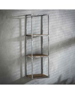 Sfeerfoto Wandplank Grained robuust hardhout & metaal 100 cm hoog
