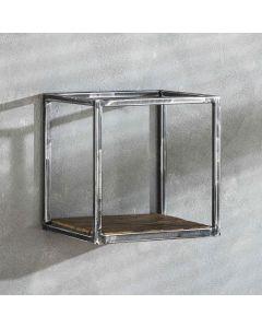 Sfeerfoto Wandplank Grained robuust hardhout & metaal 30 cm breed