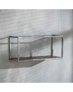 Sfeerfoto Wandplank Grained robuust hardhout & metaal 65 cm breed
